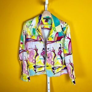 Vintage 80s Colorful Button Up Lightweight Jacket